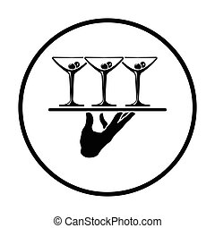 Waiter hand holding tray with martini glasses icon. Thin...