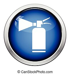 Extinguisher icon. Glossy button design. Vector...