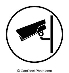 Security camera icon Thin circle design Vector illustration...
