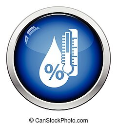 Humidity icon. Glossy button design. Vector illustration.
