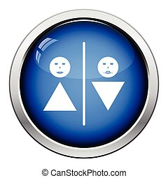 Toilet icon. Glossy button design. Vector illustration.