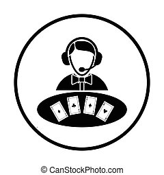 Casino dealer icon. Thin circle design. Vector illustration.