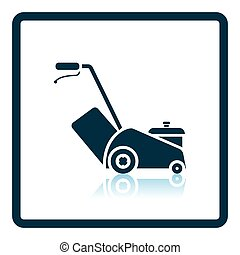 Lawn mower icon. Shadow reflection design. Vector...