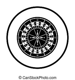 Roulette wheel icon. Thin circle design. Vector...