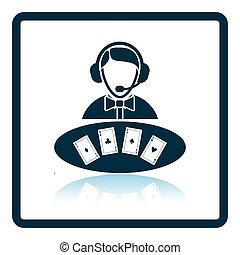 Casino dealer icon. Shadow reflection design. Vector...