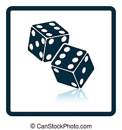 Craps dice icon. Shadow reflection design. Vector...