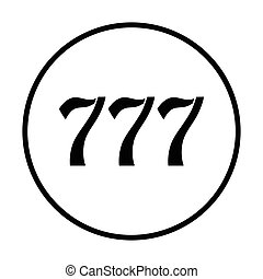 777 icon Thin circle design Vector illustration