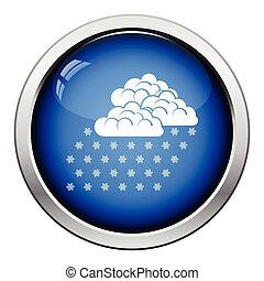 Snowfall icon Glossy button design Vector illustration