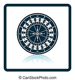 Roulette wheel icon. Shadow reflection design. Vector...