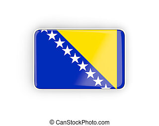 Flag of bosnia and herzegovina, rectangular icon with white...