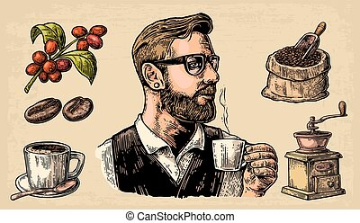 Hipster barista holding a cup of hot coffee Sack with coffee beans with wooden scoop and beans, cup, branch with leaf and berry.