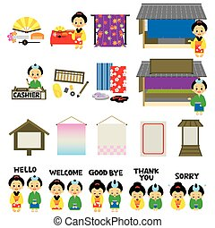 Kimono shops in Japan's Edo era, English version, vector...