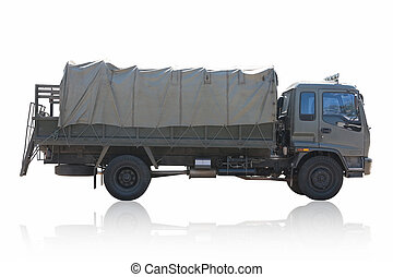 Military truck isolated on white background.