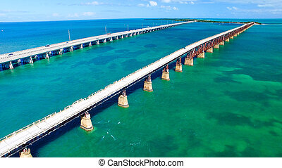 Aerial view of Bahia Honda State Park Bridges, Florida - USA