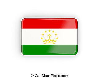 Flag of tajikistan, rectangular icon with white border. 3D...