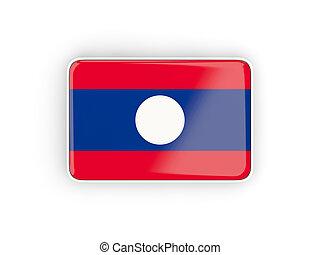 Flag of laos, rectangular icon with white border 3D...