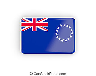 Flag of cook islands, rectangular icon with white border 3D...