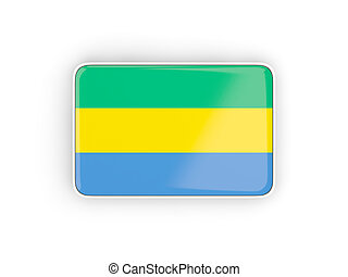 Flag of gabon, rectangular icon with white border 3D...
