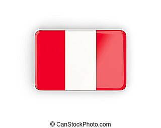 Flag of peru, rectangular icon with white border. 3D...