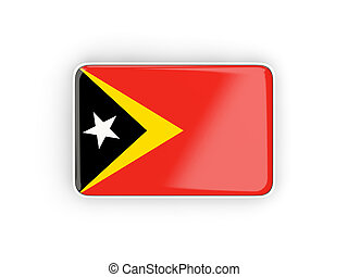 Flag of east timor, rectangular icon with white border 3D...