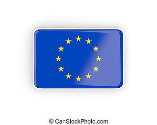 Flag of european union, rectangular icon with white border....