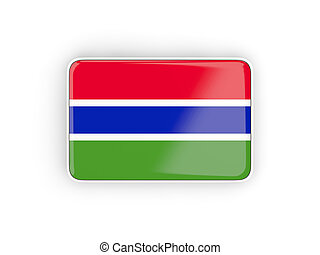 Flag of gambia, rectangular icon with white border 3D...