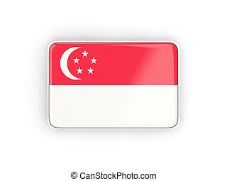Flag of singapore, rectangular icon with white border. 3D...