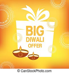 Yellow color vector card design for Diwali festival poster...
