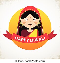 Vector Indian Girl Celebrating Deepavali Happy Diwali -...