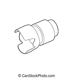 Camera lens icon, outline style
