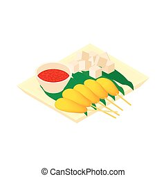 Singapore food icon, cartoon style