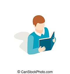 Student reading a book icon, isometric 3d style