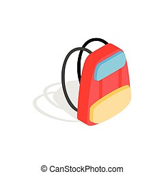 School backpack icon, isometric 3d style - icon in isometric...