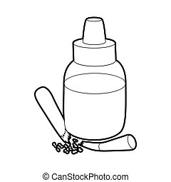 Refill bottle and cigarette icon, outline style - Refill...