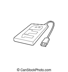 External hard drive 1tb icon, outline style - External hard...