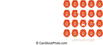 Set of the lion faces - Vector image of the Set of the lion...