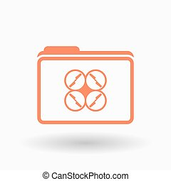 Isolated line art folder icon with a drone - Illustration of...