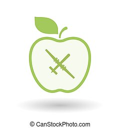 Isolated line art apple icon with a war drone - Illustration...