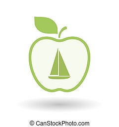 Isolated  line art apple icon with a ship