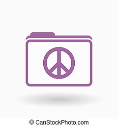 Isolated line art folder icon with a peace sign -...