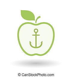 Isolated  line art apple icon with an anchor