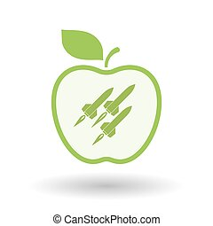 Isolated line art apple icon with missiles - Illustration of...