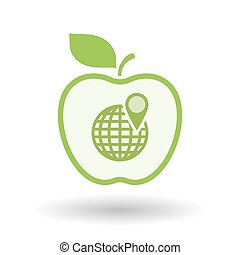 Isolated  line art apple icon with a world globe