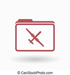 Isolated line art folder icon with a war drone -...