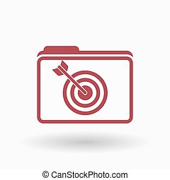 Isolated line art folder icon with a dart board -...