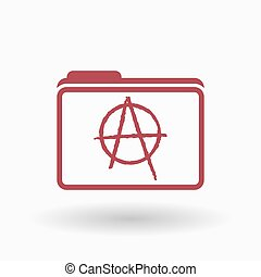 Isolated line art folder icon with an anarchy sign -...