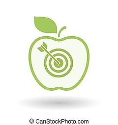 Isolated line art apple icon with a dart board -...