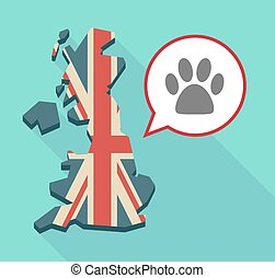 Long shadow United Kingdom map with a comic balloon and an animal footprint