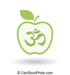 Isolated line art apple icon with an om sign - Illustration...