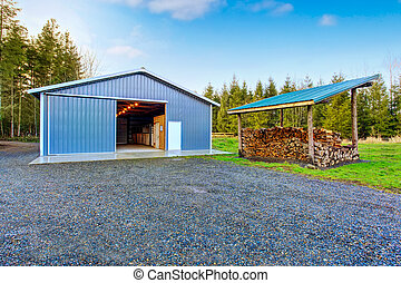 Farm blue barn shed and gravel driveway Also dry chopped...